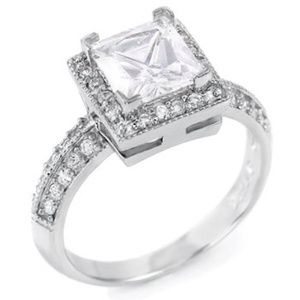 Jewelry - Princess cut Halo Ring in .925 Sterling Silver